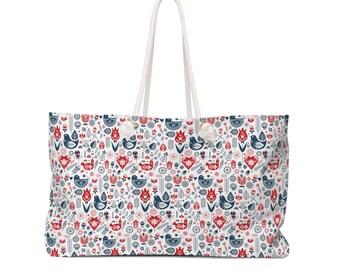 Scandinavian Print Weekender Bag  Floral Luggage  Travel Bag  Honeymoon Bag  Overnight Bags  Wedding Bag  Tote Bag