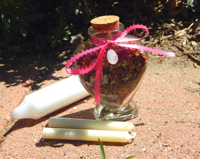 LOVE BOTTLE complete kit - Heart bottle includes charged bottle with stones & herbs, candles, petition, instructions Witch made Hand-crafted