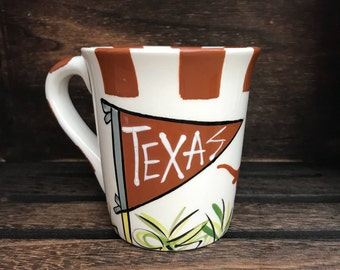 Licensed University of Texas UT Longhorns Ceramic Coffee Mug with my Hand Poured, Soy Candle, Choose Your Scent