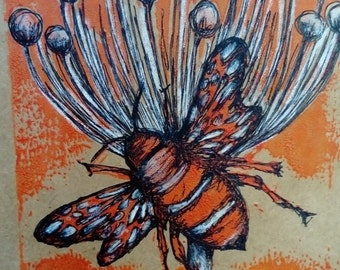 Orange seed head with large bee ,pen and ink detail on brown paper