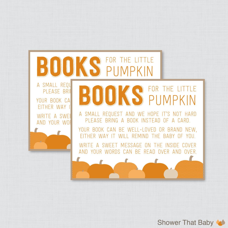 Little Pumpkin Baby Shower Bring a Book Instead of a Card