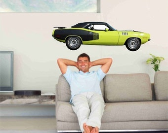 Muscle Car Wall Decal, 1971 Plymouth Hemi Cuda, Classic Car decal, Man Cave Decor, Fathers Day Gifts, Garage Wall Decor, Boys Bedroom Decal