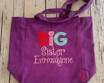 Big Sister Bag, Big Sister Gift, Big Sister Announcement, Big Sister Little, Tote Bag, Personalized Tote, Hospital Bag, Monogram Bag, Sis
