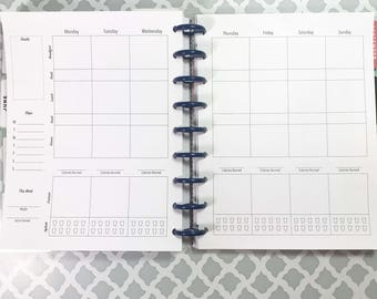 Fitness Planner Inserts for the Medium, Classic Happy Planner, Discbound Planner