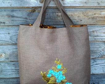 Linen Tote Bag, Embroidered Bag, Brown  linen Shopping Bag, Medium size, Grocery Reusable Bag, Eco-friendly, Natural Beach Tote Bag