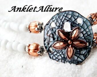 BEACH Anklet SAND DOLLAR Ankle Bracelet Verde Gris Copper Anklets for Women Guaranteed
