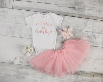Pretty Eyes and Chubby Thighs Infant Bodysuit in Metallic Rose Gold - Baby Shower Gift