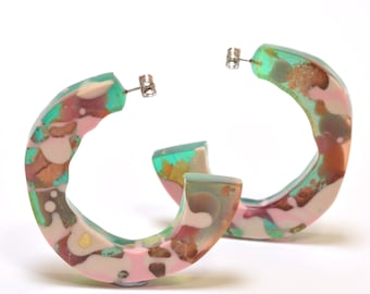 Glam Chunky Resin Hoops-Large Size - One of a kind, -Assorted Colours
