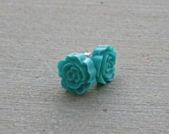 Ruffle Rose Earrings -- Turquoise
