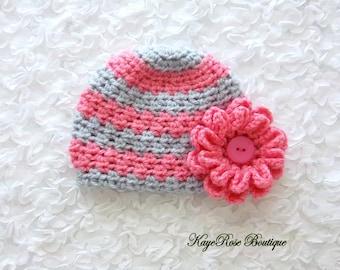 Newborn Baby Girl Crochet Flower Hat Gray and Pink Stripes