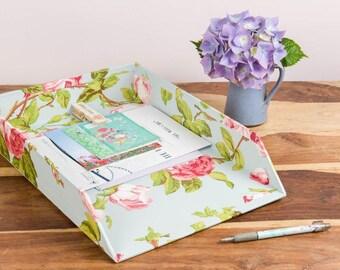 Paperwork In Tray - Vintage Rose Design