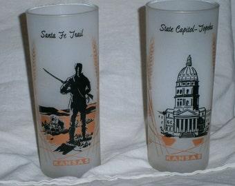 Vintage Kansas Highball Drinking Glasses