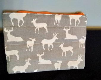 Zipper pouch pencil case deer