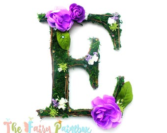 Woodland Rose Floral Letters - Moss Nursery Wall Letter - Floral Baby Monogram - Floral Wedding Monogram Floral Table Letter - Moss Letters
