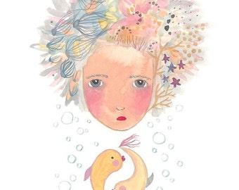 Pisces art print fish girl illustration