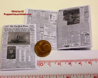"""2006# New York Times 1912 """"Titanic"""" - Newspaper for doll houses in scale 1/12"""