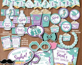 SELF EDITING Little Mermaid Baby Shower Decorations Printable Under The Sea  Baby Shower Decors Mermaid Pool Party Pool Side Baby Shower B416
