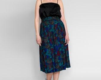 Vintage 80s Skirt • Paisley Skirt • Dark Floral Skirt • High Waist Skirt • Floral Midi Skirt • Pleated Skirt • Full Skirt • 1980s Skirt