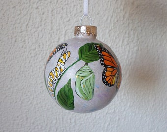 Monarch butterfly life cycle ornament, hand painted Christmas ornament, butterfly gift