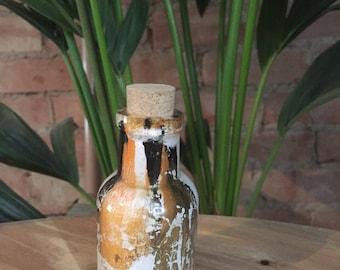 Vintage Hand Formed Painted Glass Bottle Black/White/Orange