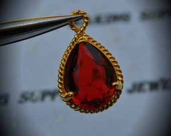 Gold Plated Rope Rim Bezel Brass Faceted Glass Tear Drop Pendant - Bright Red