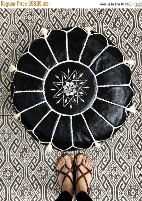 30% OFF Pouf Sale// Black with White Stitching Moroccan Leather Pouf with Tassels & Pompoms >> for Home gifts, wedding gifts,birthday gift