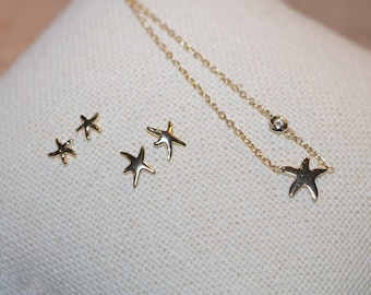 Vermeil Starfish Necklace & Earrings SET