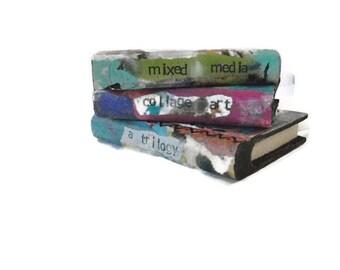 Art Books, Wood Books, Wood Display Books, Miniature Books, Mixed Media Book, Collage Art, Wood Blocks, Whimsical Art, Original Art, OOAK