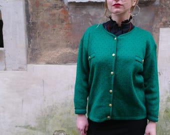 Green Cardigan  Vintage 80 Golden buttons