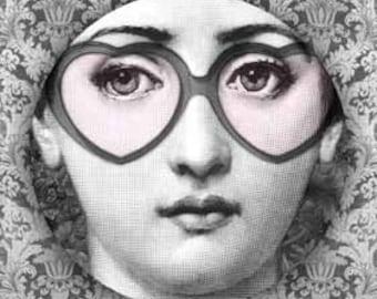 Cavalieri Rose colored glasses plate
