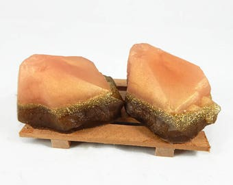 Peach & Brown Rock Soap Set - Soap Dish Included