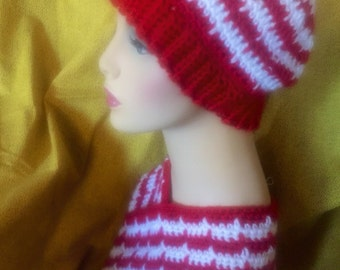 Red & White Candy Cane Stripe Hat and Neck Warmer