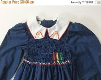 SALE Polly Flinders, Smocked Dress, Child's Dress, Vintage Girls Dress, vtg smocked dress