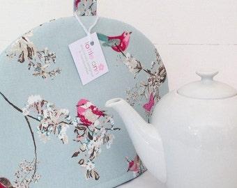 Tea Cosy, Beautiful Birds Tea Cosy, Pretty Tea Cosy, Birds, Blossom, Butterflies, Duck Egg Blue, Kitchen Accessory, Time for Tea!, Gift