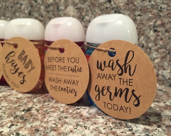 Hand Sanitizer Tag, Customized Tags, Baby Shower Favor