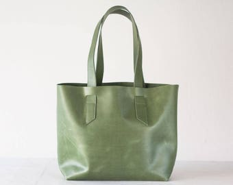 Green leather tote bag, raw edge leather purse shopper bag shoulder womens large market bag unlined leather tote  - Calisto bag
