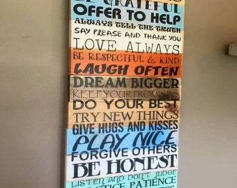 Family Rules Planked Wood Distressed personalized