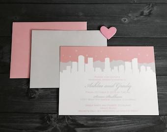 Denver Skyline Wedding Invitation or Save the Date Set of 10
