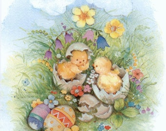 4 Decoupage Napkins | Spring Garden chicks at Playing | Easter Napkins | chicks in the eggs Napkins | Paper Napkins for Decoupage