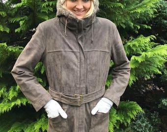 Vintage Women's Leather Parka Coat Gray Suede Leather Coat Faux Fur Trim Parka Coat Medium to Large Size Winter Hipster Jacket Hood Coat