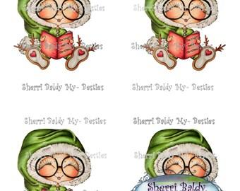 INSTANT DOWNLOAD Digital Digi Stamps Big Eye Big Head Dolls Digi  Night B 4 Christmas Bestie 3D Color Printable By Sherri Baldy