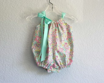 Baby Girls Floral Bubble Romper - Infant Sun Suit with Raspberry and Aqua - Baby Girl Romper - Aqua Bubble - Size NB, 3m, 6m, 9m, 12m or 18m