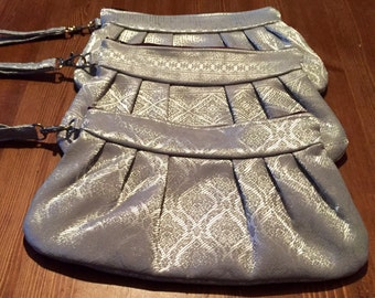 Grey Silk Brocade Clutches | Wristlet Sets | Bridesmaid Wristlets | Set of Bridesmaid Clutches | Bridal Party Gift | Evening Bags | Silver