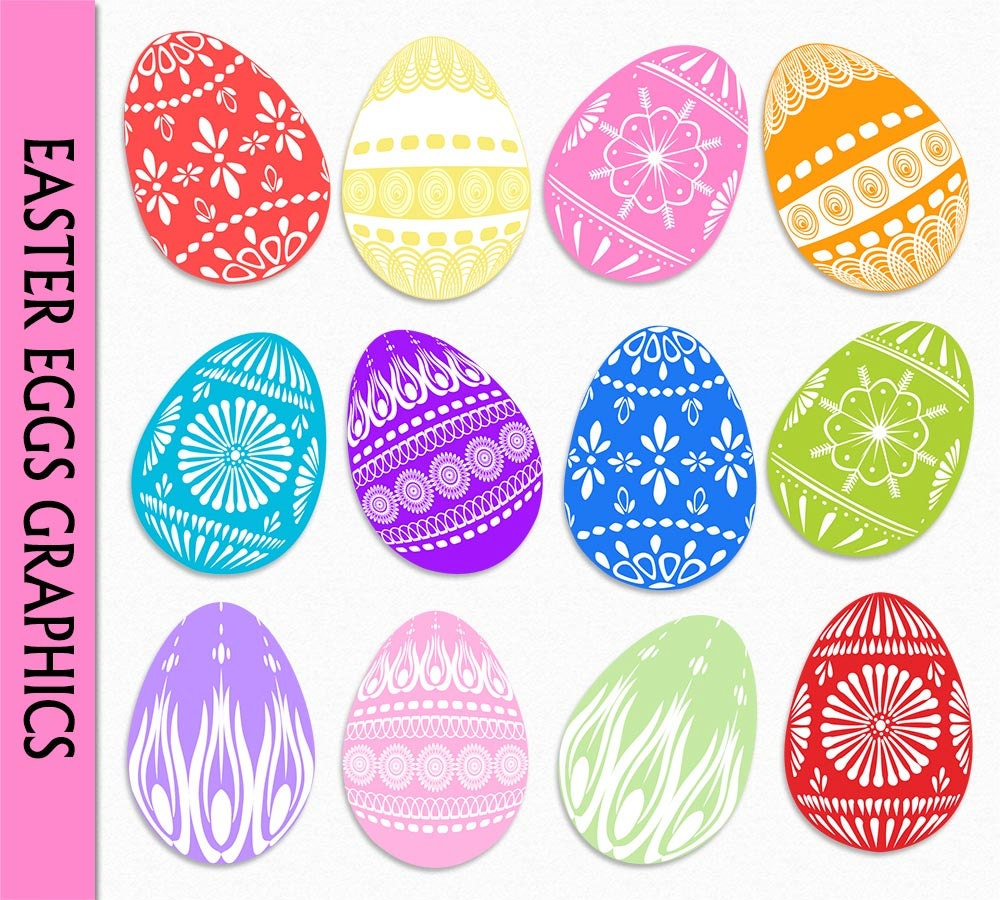 Easter Egg Clip Art Graphic Colorful Eggs Clipart