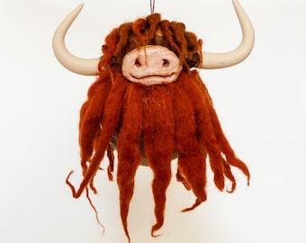Wool Highland Cow - Hanging Ornament