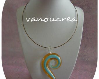 Glass spiral pendant necklace