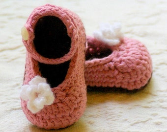 CROCHET PATTERN # 100 - Baby Shoe Crochet PATTERN - Instant pdf download - My Oh My Mary Janes L