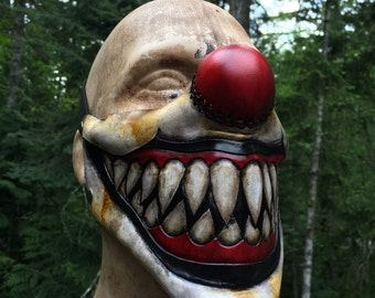 Leather sharp tooth clown mask