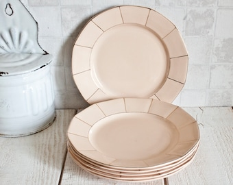 Set of 6 French DIGOIN SARREGUEMINES Pale Pink and Gold Plates || Vintage French Blush Dinner Plates - Shabby Chic Style