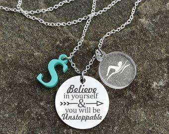 Swim Necklace, Swimmer Necklace, Swimming Necklace, Swim Charm Necklace, Girls Swim Gift, Girl Swimmer Gift, Swim Gift for Girl